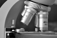 Microscope closeup. Closeup of microscope for science Royalty Free Stock Photos