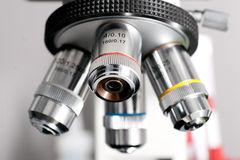 Microscope closeup Stock Photo