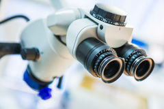 Microscope. Closeup of medical microscope with shallow depth of field Royalty Free Stock Photography