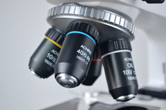 Microscope closeup. Closeup of microscope for science Royalty Free Stock Image