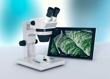 Microscope, concept de recherche scientifique et nouvelles technologies Photographie stock