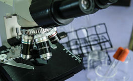 Microscope 1. The device uses a microscope in a laboratory Stock Photo