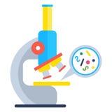 Microscope et bactéries illustration de vecteur