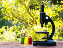 Microscope and glass flasks with colored liquids on a wooden table. An optical device for a student. School concept. Copy space Stock Images