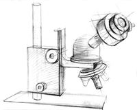 Microscope hand drawn. Laboratory microscope hand drawn. Research equipment Stock Photos