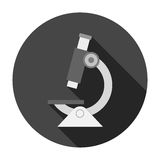 Microscope icon with long shadow Royalty Free Stock Images