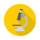 Microscope icon with long shadow Stock Image