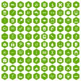 100 microscope icons hexagon green. 100 microscope icons set in green hexagon isolated vector illustration stock illustration
