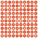 100 microscope icons hexagon orange. 100 microscope icons set in orange hexagon isolated vector illustration Royalty Free Stock Images