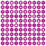 100 microscope icons hexagon violet. 100 microscope icons set in violet hexagon isolated vector illustration stock illustration