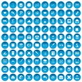 100 microscope icons set blue. 100 microscope icons set in blue circle isolated on white vector illustration Vector Illustration