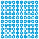 100 microscope icons set blue. 100 microscope icons set in blue hexagon isolated vector illustration Royalty Free Illustration