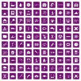 100 microscope icons set grunge purple. 100 microscope icons set in grunge style purple color isolated on white background vector illustration Royalty Free Stock Photo