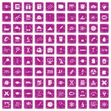 100 microscope icons set grunge pink. 100 microscope icons set in grunge style pink color isolated on white background vector illustration stock illustration