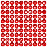 100 microscope icons set red. 100 microscope icons set in red circle isolated on white vector illustration vector illustration