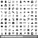 100 microscope icons set, simple style. 100 microscope icons set in simple style for any design vector illustration royalty free illustration