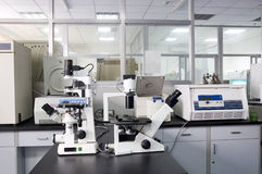 Microscope in a lab Stock Image