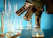 Microscope in the laboratory. The research tool Royalty Free Stock Images