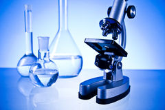 Microscope and laboratory Royalty Free Stock Image