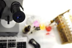 Microscope  in laboratory Royalty Free Stock Image