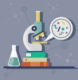 Microscope in the laboratory. On a pile of books.Study of the simplest organisms. Objects  on background. Flat vector illustration Royalty Free Stock Photo