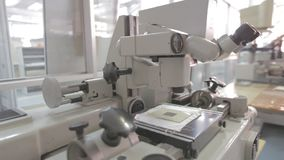 Microscope in a laboratory stock video footage
