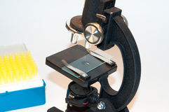 The microscope in  laboratory. Stock Photography