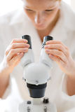 Microscope laboratory - woman medical research Stock Photo