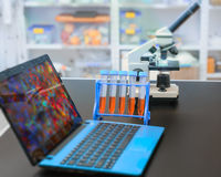 Microscope and laptop with digital microscopic image Royalty Free Stock Image