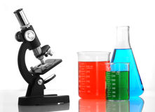 Microscope and liquids Stock Photo