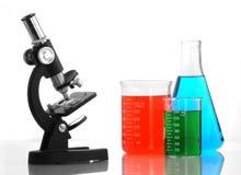 Microscope and liquids Stock Photo