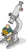 Microscope man. Small man sitting on enormous microscope Royalty Free Stock Images