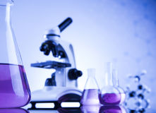 Microscope in medical laboratory glassware Stock Photo