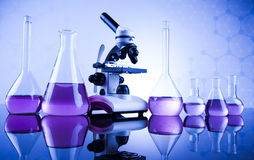 Microscope in medical laboratory glassware Stock Photography