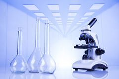 Microscope in medical laboratory, Research and experiment. Chemistry science, Laboratory glassware background stock photo