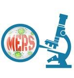 Microscope with Mers virus Stock Photo