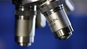 Microscope objective stock footage