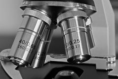 Microscope Objective Lens. Black and white photo of microscope objective lenses Stock Images