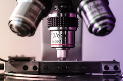 Microscope objectives and stage Royalty Free Stock Photos