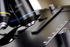 Microscope Optic. Close up of a Microscopes Optics and stage Stock Image