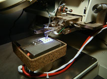 Microscope and PCB Royalty Free Stock Photography