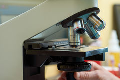 Microscope in real lab Stock Photo
