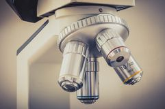 Microscope in scientific and healthcare research laboratory Royalty Free Stock Photography
