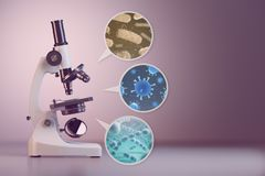 Microscope and a set  of different bacterias and viruses. Space Stock Images