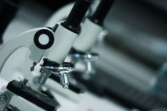 Microscope. Some microscopes in science laboratory Royalty Free Stock Photo