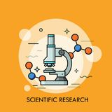 Microscope surrounded by molecular structures. Concept of scientific research, genetic testing, biochemistry laboratory equipment, optical tool. Colorful Royalty Free Stock Photography