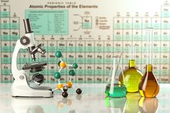 Microscope and test glass flasks and tubes with colored solution Stock Image
