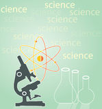 Microscope with test tubes. And atom.Science Royalty Free Stock Images