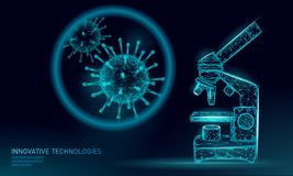 Microscope virus 3D low poly render. Laboratory analysis infection chronic disease Hepatitis virus influenza flu infect royalty free illustration