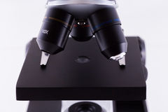 Microscope on White Background Stock Photo